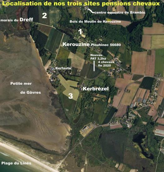 Localisation nos 3 sites pensions chevaux + nouveau pâturage 3,20ha fin 2020