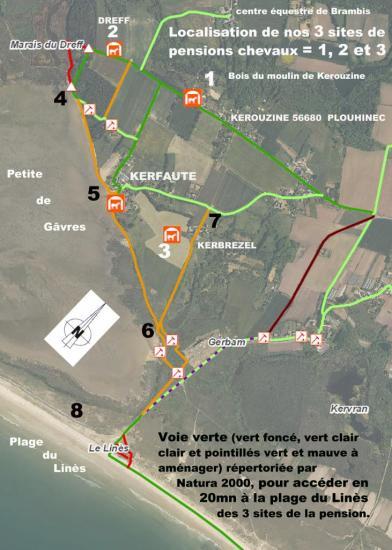 itinéraire équestre d'accès à la plage en 20mn en empruntant la voie verte