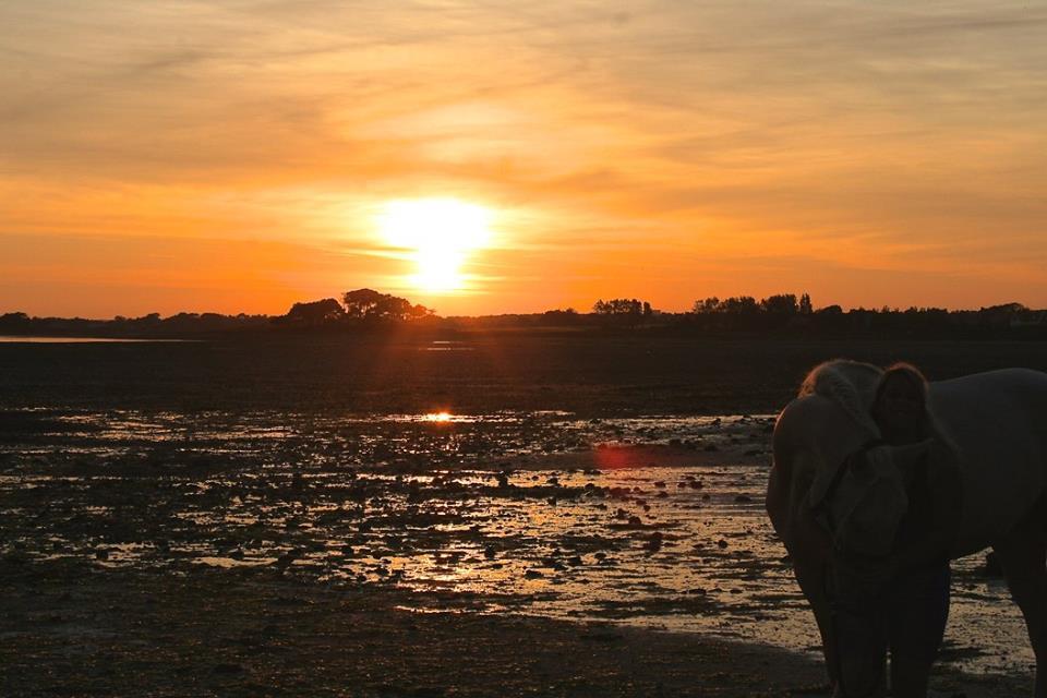Coucher de soleil sur la Petite mer de Gâvres à marée basse