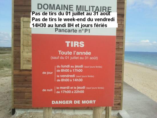 HORAIRES OFFICIELS des tirs militaires sur les dunes de la plage du Linès
