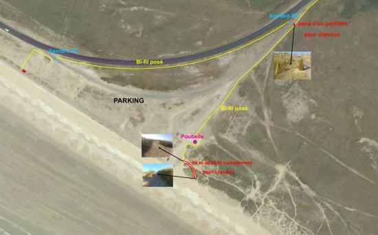 Plan d'accès sur la plage par un protillon 1,50m quand la barrière est fermée
