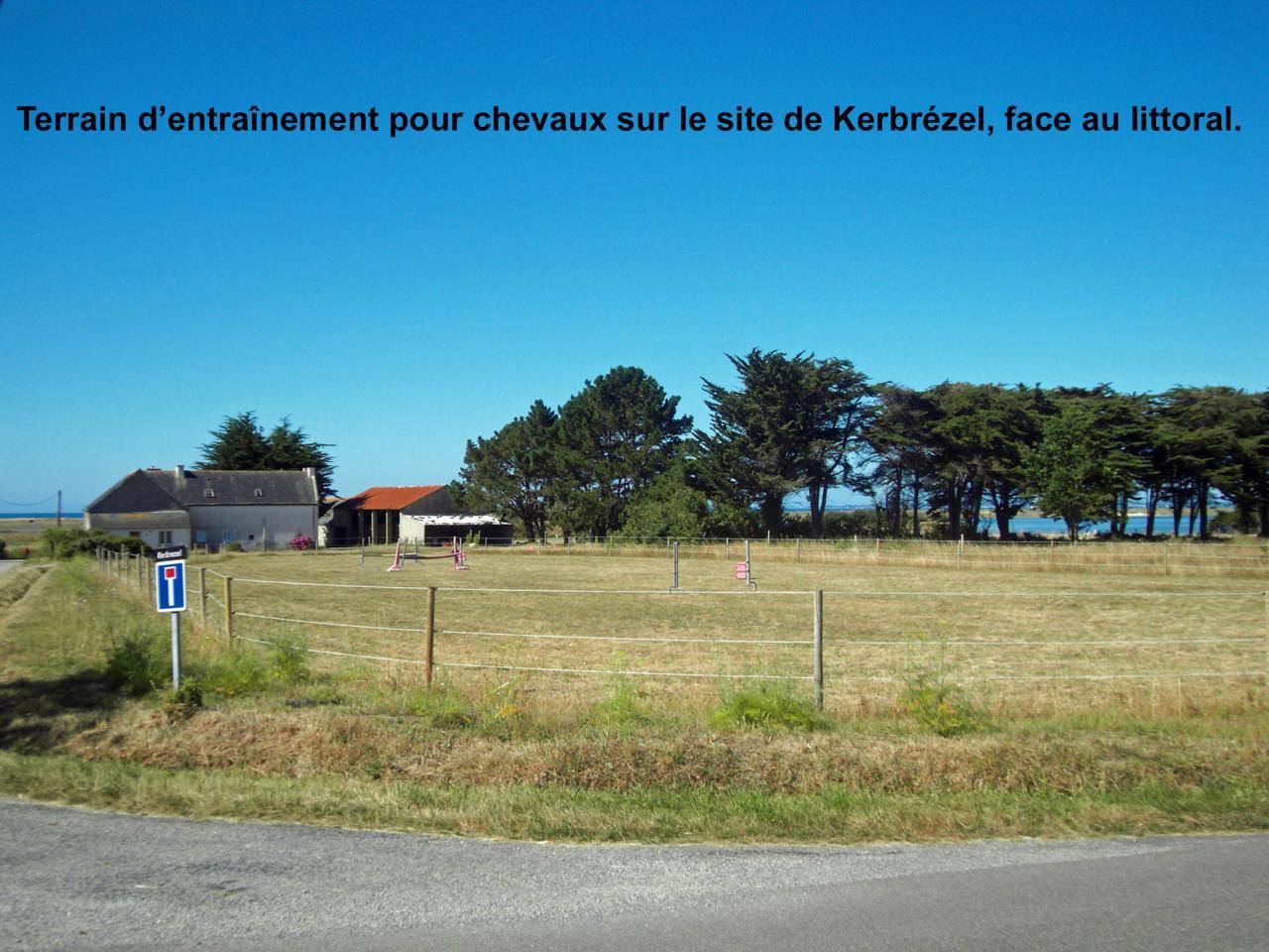 Terrain d'entraînement pour chevaux sur le site de Kerbrézel face au littoral