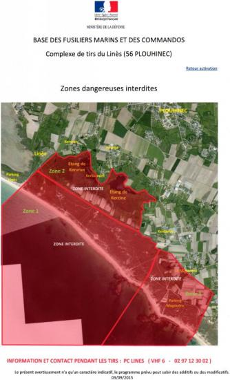 Zones dangereuses interdites en période de tirs Plage du Linès