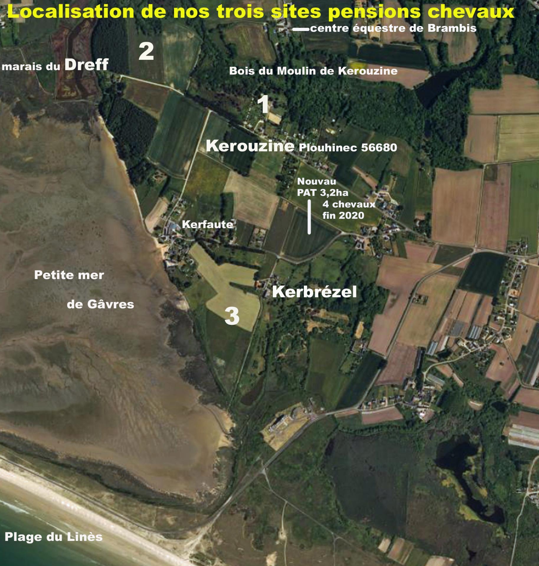 Localisation nos 3 sites de pensions chevaux