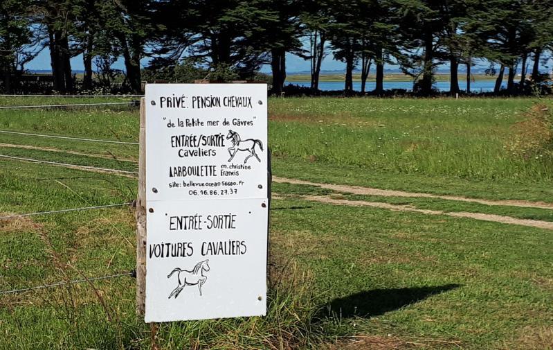 Pancarte entree sortie pension chevaux de la petite mer de gavres